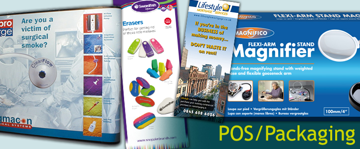 a montage image of some of the point of sale and packaging we have created